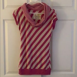 Pink & Cream striped scooped neck blouse